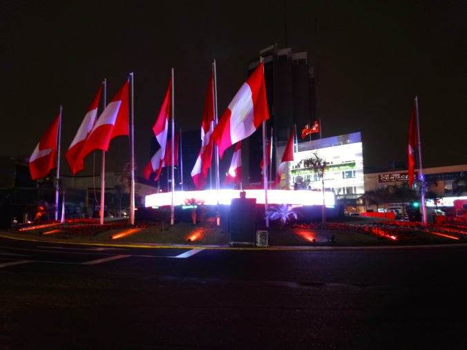 Peruvian flags in Lima