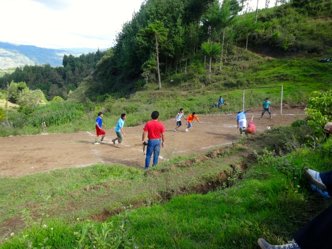 Playing futbol in Peru