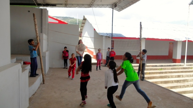 Playing volleyball in Peru