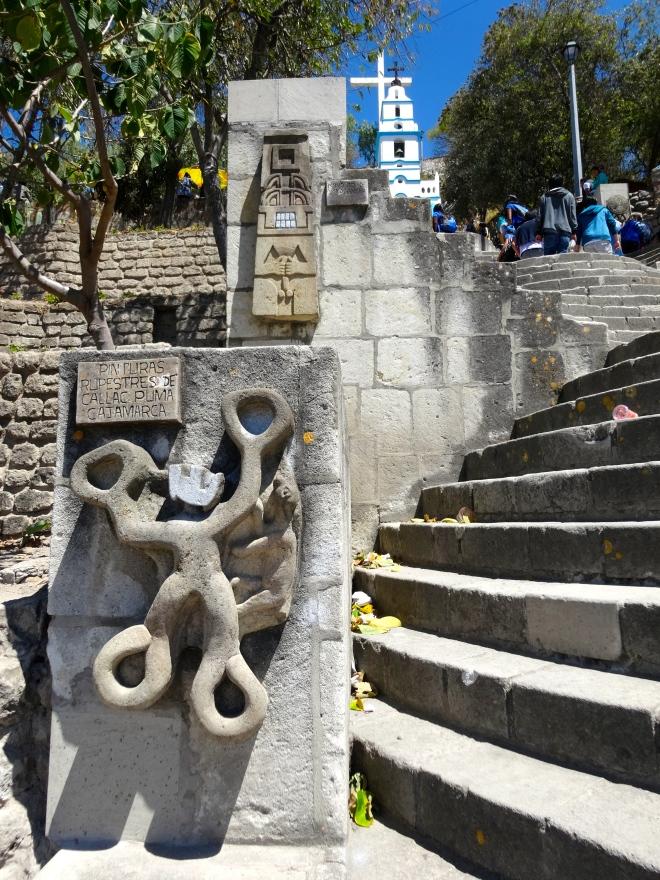 Incan steps in Cajamarca Peru