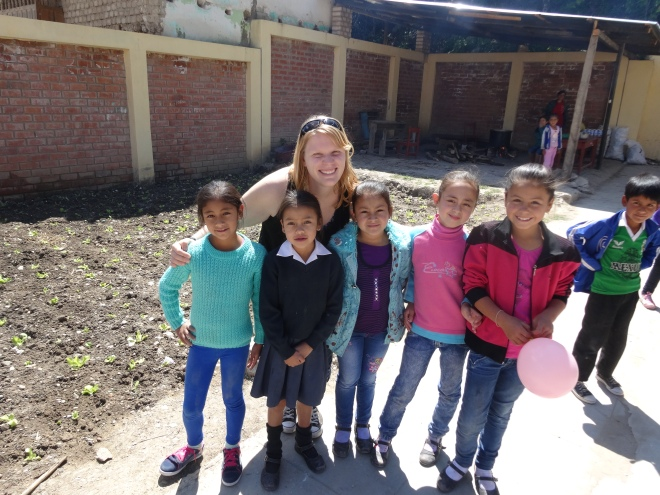 PCV Peru with vegetable garden students