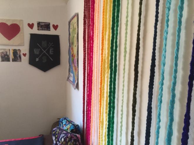 DIY wall art yarn braids photo wall