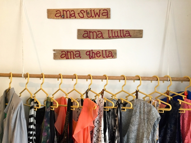 DIY Quechua quote hanging clothes rack Peace Corps cribs Peru