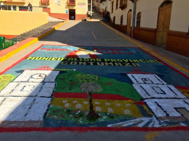 Alfombra de la Municipalidad de Contumaza, Cajamarca, Peru Fiesta San Mateo