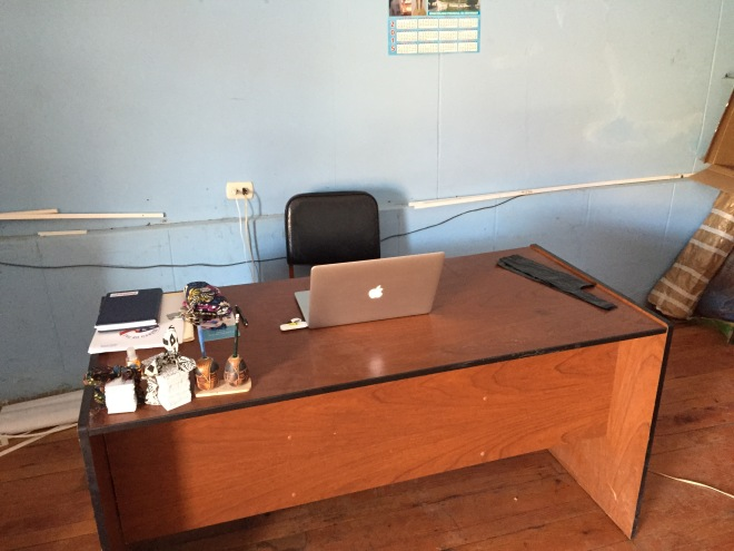 Peace Corps Peru desk in the Municipality Conutmaza Cajamarca Economic Development Volunteer