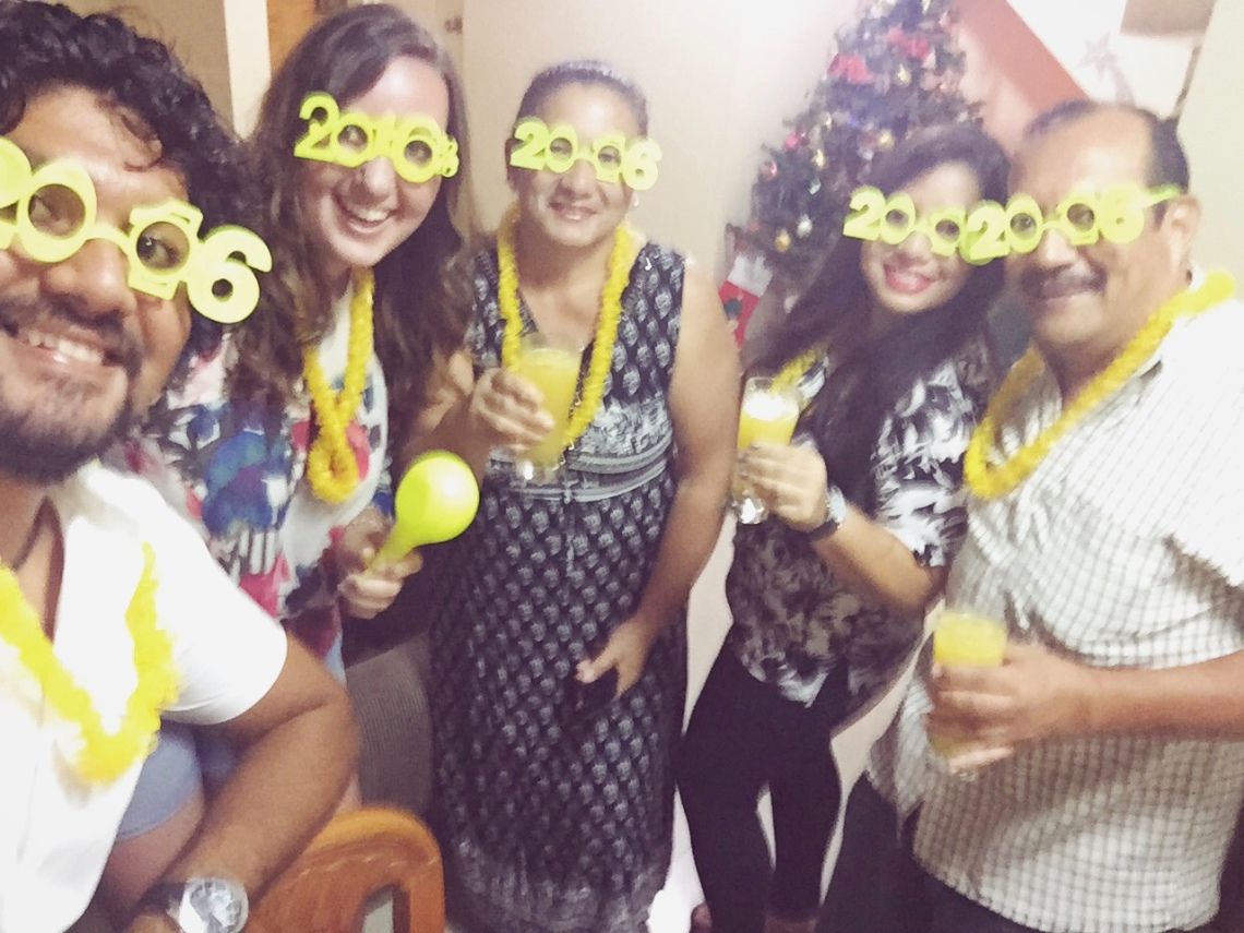 Peace Corps host family Peru toasting New Year 2016