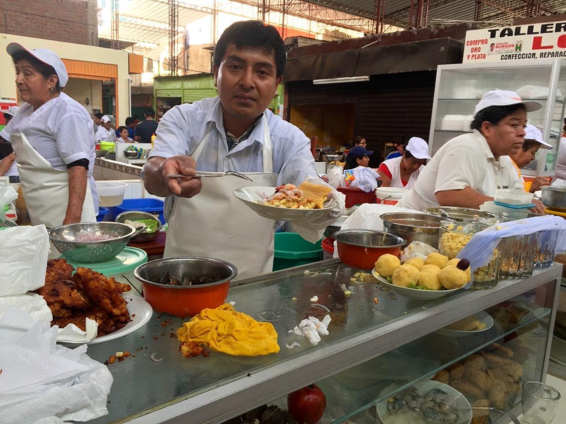 Market ceviche in Chiclayo Peru