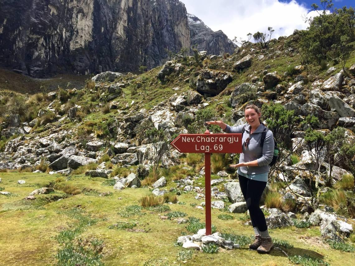 Final trail marker Laguna 69 hike Ancash Peru Peace Corps