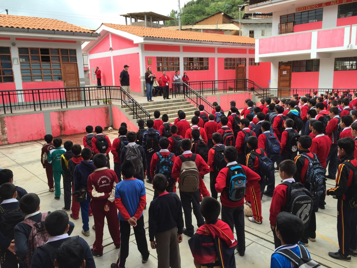 Presenting Coach Scott at a Peruvian High School Peace Corps