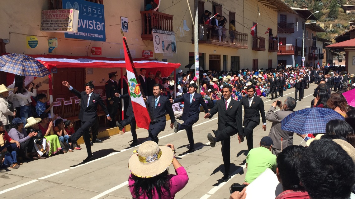 Marching in Fiestas Patrias parade Peace Corps Cajamarca Municipality