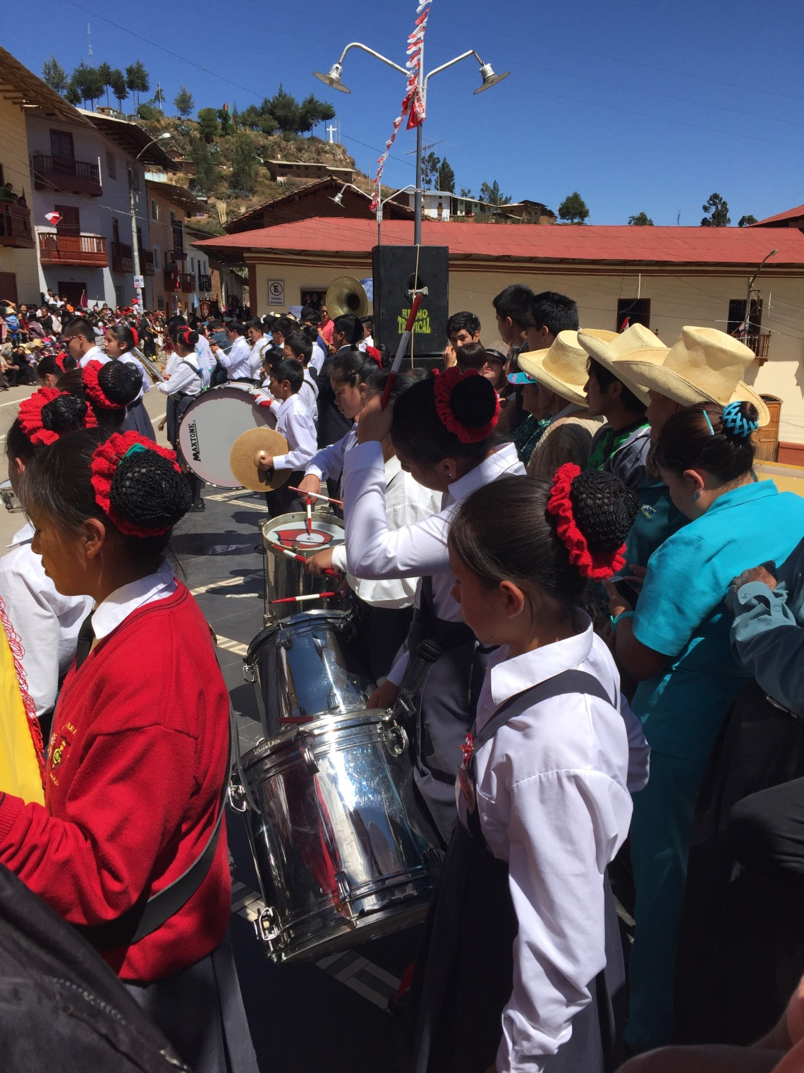 All girl drum line Peru Fiestas Patrias