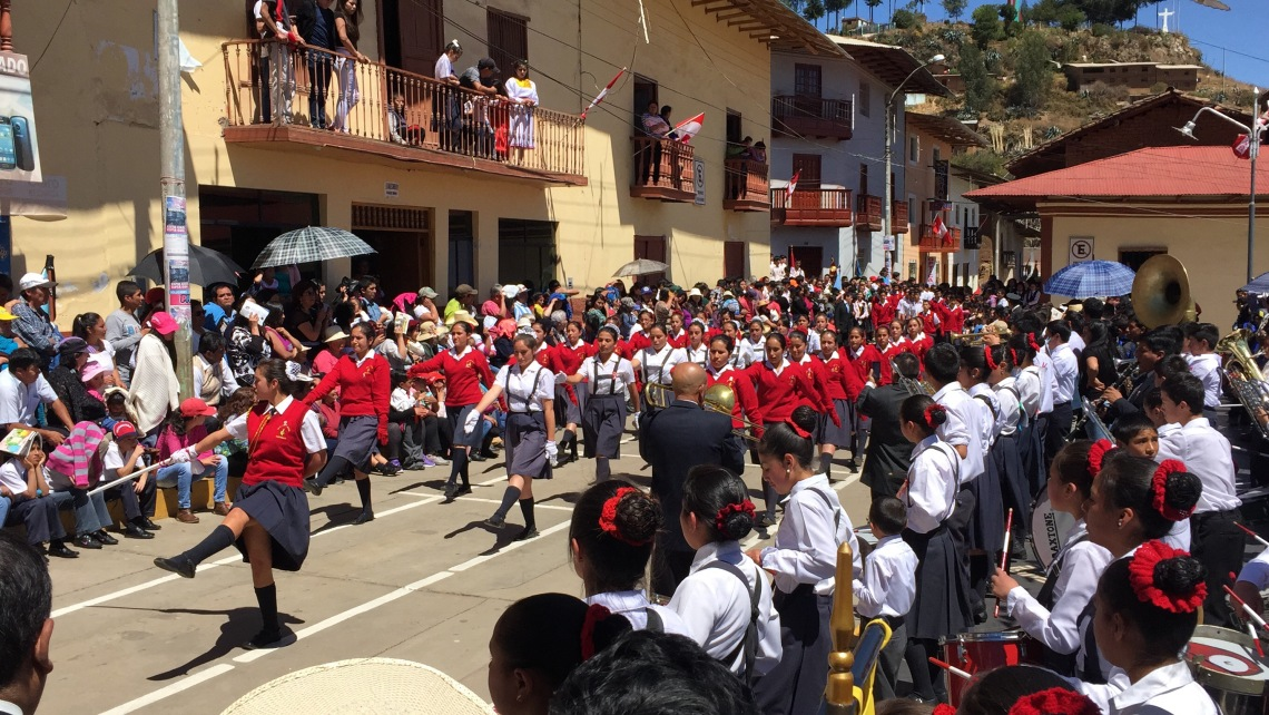 Students marching in the Fiestas Patrias parade Peace Corps Peru