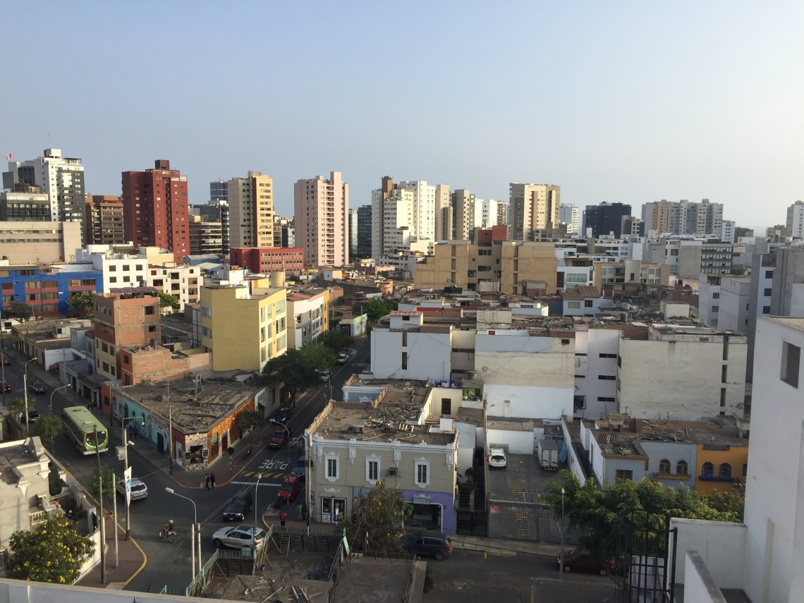 Lima Peru skyline from rooftop apartment